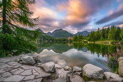 Mountain lake Strbske Pleso in National Park High Tatra, Slovaki Stock Images