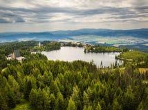 Mountain lake Strbske Pleso in National Park High Tatras in Slovakia Stock Photos