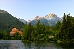 Mountain lake Strbske pleso in National Park High Tatras Royalty Free Stock Photography