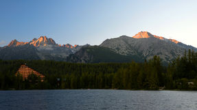 Mountain lake Strbske pleso in National Park High Tatras Royalty Free Stock Photos