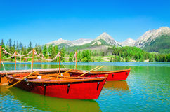 Mountain lake Strbske Pleso in Slovakia, Europe stock photography