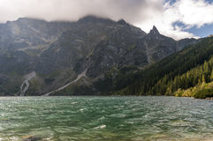 Mountain lake during strong winds. Morskie Oko. Tatry Stock Photo