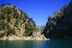 Mountain lake in the summer in a fair weather Royalty Free Stock Images