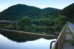 Mountain lake after sunset stock image