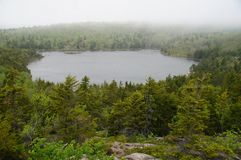 Mountain lake surrounded with coniferous forest with a dense fog on the background Stock Photo