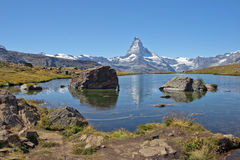 Mountain lake in the Swiss Alps Stock Image