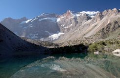 Mountain lake in Tajikistan. With mirrored high wall Royalty Free Stock Images
