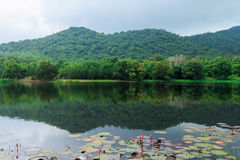 Mountain and Lake in Thailand Royalty Free Stock Photography