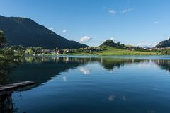 The mountain lake Thiersee in Tyrol, Austria Stock Image