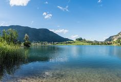 The mountain lake Thiersee in Tyrol, Austria Stock Photos