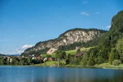 The mountain lake Thiersee in Tyrol, Austria.  royalty free stock images