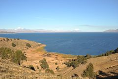 Mountain lake Titicaca Stock Images