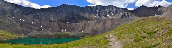Mountain Lake and the trail leading to the pass Royalty Free Stock Image