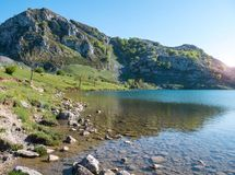 Mountain lake with transparent water. Royalty Free Stock Images