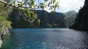 Mountain lake on a tropical island stock footage