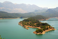 Mountain lake in Turkey. Beautiful view from the mountain lake and island in Turkey Stock Images
