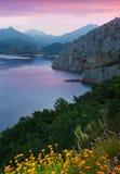 Mountain lake in  twilight. Leon,  Spain Royalty Free Stock Photography