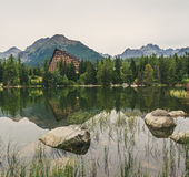 Mountain Lake under Peaks Royalty Free Stock Photography