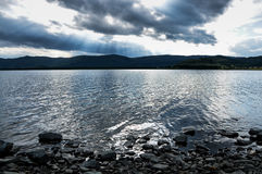 Mountain lake in Ural, Russia. stock photo