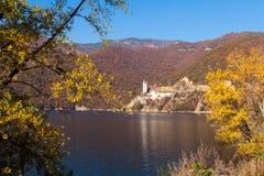 Mountain lake. Vacha Dam in the fall, Rhodope Mountains, Bulgaria Stock Image