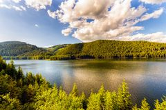 Mountain Lake Vidra summer evening view Royalty Free Stock Image