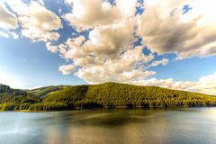 Mountain Lake Vidra summer evening view Royalty Free Stock Photos