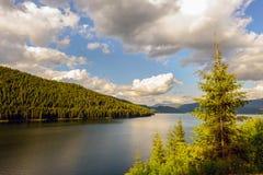 Mountain Lake Vidra summer evening view Royalty Free Stock Image