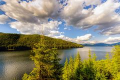 Mountain Lake Vidra summer evening view Stock Photo