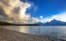 Mountain lake view. With cloudy sky royalty free stock photo