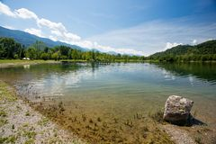 Mountain lake view. Ferlacher Badesee. Royalty Free Stock Images