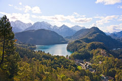 Mountain lake and view to Bavarian Alps Stock Photos