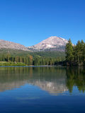 Mountain Lake and Volcano. Manzanita Lake, Lassen Peak, Lassen Volcanic National Park Stock Photos