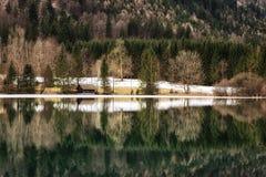 Mountain lake Vorderer Langbathsee in Salzkammergut, Upper Austr Stock Photography