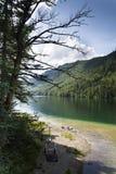 Mountain lake Vorderer Langbathsee in Salzkammergut in Upper Austria Stock Photos