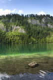 Mountain lake Vorderer Langbathsee in Salzkammergut in Upper Austria Stock Photo