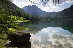 Mountain lake Vorderer Langbathsee in Salzkammergut in Upper Austria Royalty Free Stock Photography