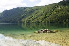 Mountain lake Vorderer Langbathsee in Salzkammergut in Upper Austria Stock Images