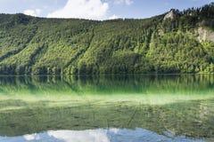 Mountain lake Vorderer Langbathsee in Salzkammergut in Upper Austria Stock Photography