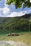 Mountain lake Vorderer Langbathsee in Salzkammergut in Upper Austria Stock Image