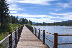 Mountain lake walkway Royalty Free Stock Photo