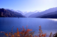 Mountain and lake water, Tianshan Tianchi ,China Royalty Free Stock Photo