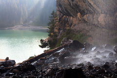 Mountain lake and waterfall on foreground. Swiss mountain lake and waterfall on foreground Royalty Free Stock Photo