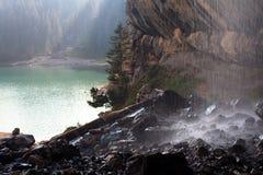 Mountain lake and waterfall on foreground. Swiss mountain lake and waterfall on foreground royalty free stock photo