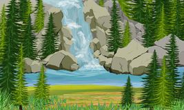 Mountain Lake. Waterfall, rocks and spruce trees. Wild nature of Europe, Scananavia, USA and Canada vector illustration