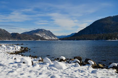 Mountain lake in winter Royalty Free Stock Photography