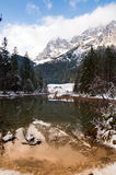 Mountain lake winter lanscape Royalty Free Stock Photos