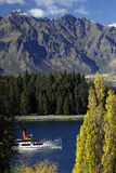 Mountain Lake With Steamer Royalty Free Stock Photography