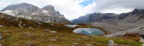 Mountain lakes autumn panorama Stock Photos