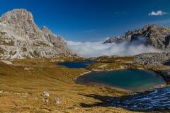 Mountain Lakes with Dolomite Range-Tre Cime,Italy Royalty Free Stock Photos