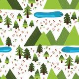 Mountain lakes outdoor scene vector pattern tile royalty free illustration